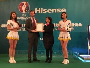 Hisense sponsorship certificate